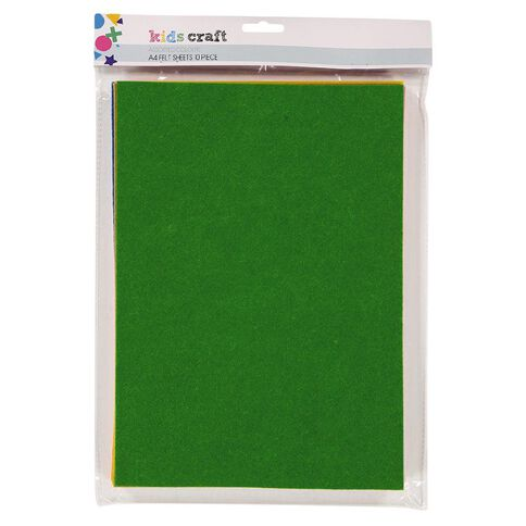 Kookie Felt Sheet 10 Pack Multi-Coloured A4