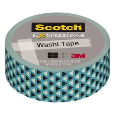 Scotch Washi Craft Tape 15mm x 10m Teal Triangles