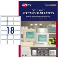 Avery Rectangular Glossy Labels 10 Pack 18 Per Sheet White