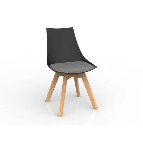 Luna Black Stone Oak Base Chair Grey