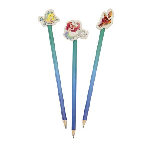 Disney Ariel Pencils With Eraser Toppers 3 Pack
