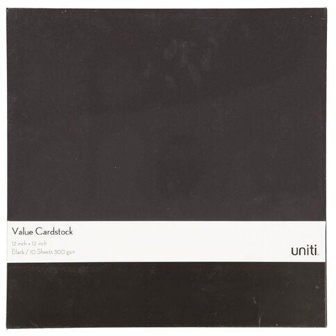 U-Do Value Cardstock 300gsm 10 Pack Black 12in x 12in