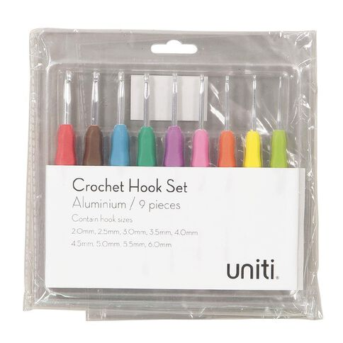 Uniti Crochet Hooks Aluminium 9  Pack