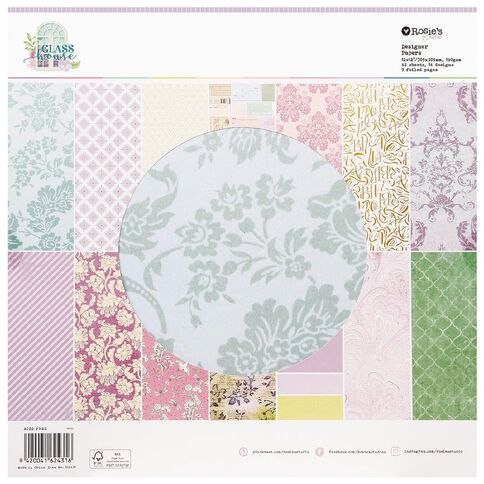 Rosie's Studio Glasshouse 12 x 12 Designer Papers 42 Sheet Pad