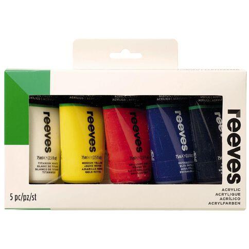 Reeves Artist Acrylic Set Tubes 5 x 75ml Multi-Coloured