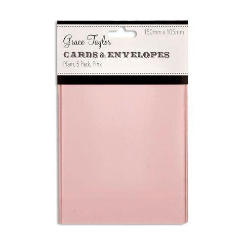 Grace Taylor Cards & Envelopes 15 x 10cm 5 Pack Plain Blush Pink