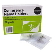Impact Conference Name Badge Holder 50 Pack Clear