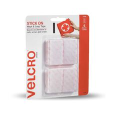 VELCRO Brand Hook & Loop Stick On Strips 25mm x 50mm 6 Strips White