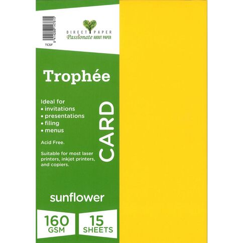 Trophee Card 160gsm 15 Pack Sunflower Yellow A4