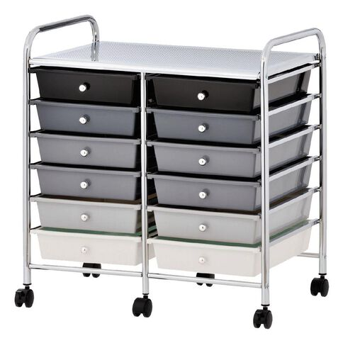 Workspace 12 Drawer Chrome Trolley Black/Grey