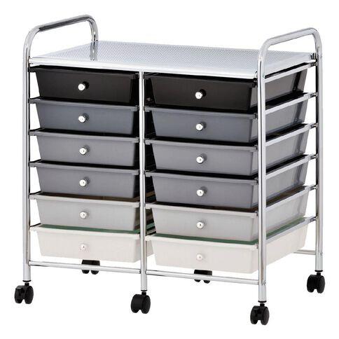Workspace 12 Drawer Chrome Trolley Black/Grey