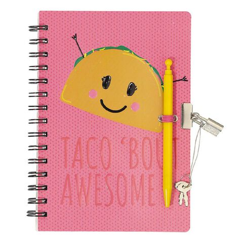 Kookie Fun Food Moulded Lockable Notebook with Pen A5