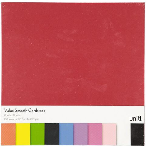 U-Do Value Cardstock Smooth 220gsm Brights 60 Sheets 12in x 12in