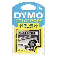 Dymo Label Tape Colour Pop Black/Glitter Silver 3m x 12mm