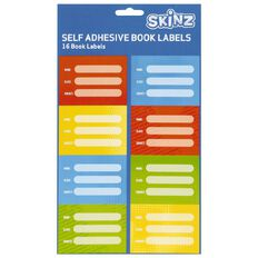 SKINZ Book Labels Brights 16 Pack Multi-Coloured