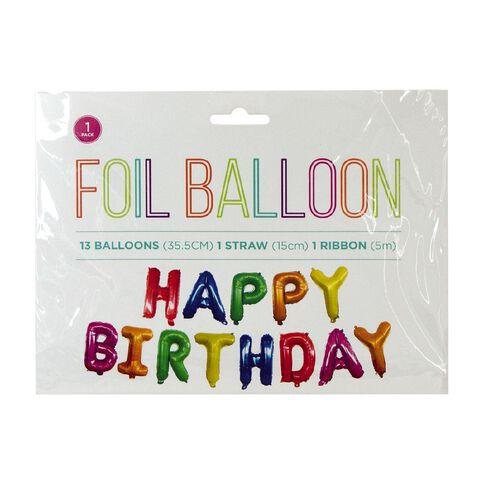 Foil Balloon Banner Happy Birthday 35.5cm Multi-Coloured