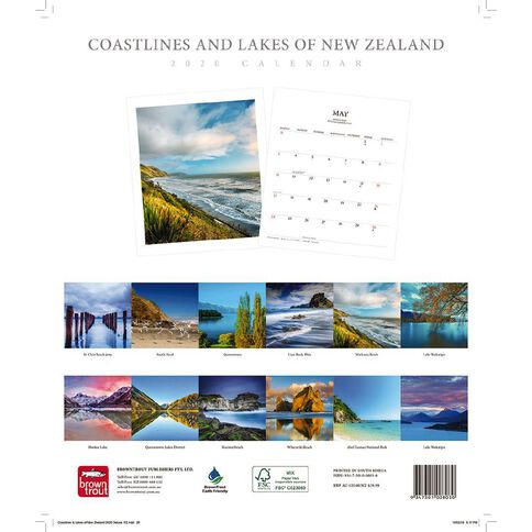BrownTrout 2020 Deluxe Wall Calendar Coastlines & Lakes Of New Zealand