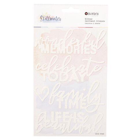 Rosie's Studio Stillwater Glitter Phrases 2 Sheets