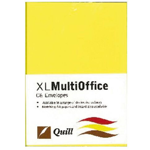 Quill Multioffice Envelopes C6 25 Pack Lemon Yellow
