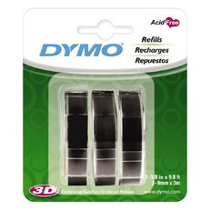 Dymo Embosser Tape Black 9mm x 3m 3 Pack Black