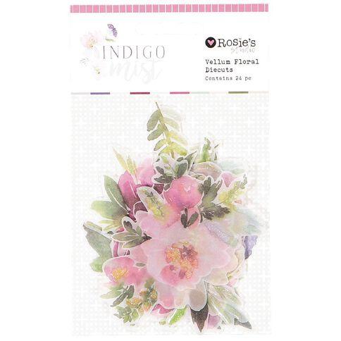 Rosie's Studio Indigo Mist Vellum Floral Diecuts 24 Piece