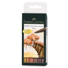 Faber-Castell 6 Pitt Artist Brush Pens Terra