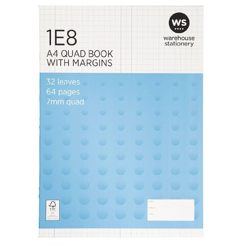 WS Exercise Book 1E8 7mm Quad 32 Leaf Plus Margin