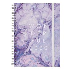 Modena 2020 Diary Week To View Spiral Marble Purple A5