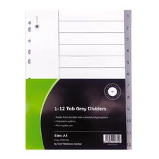 Office Supply Co 1-12 Tab Grey Polyproplylene Dividers