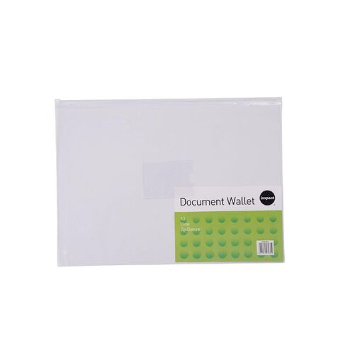 Impact Clear Zipper Document Wallet A3