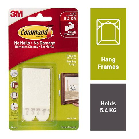Command Medium Picture Hanging Strips 4 Sets/Pack White