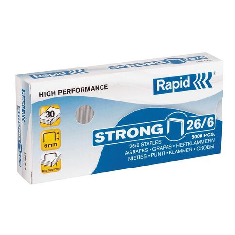 Rapid Staples Strong 26/6 5000 Pack Silver