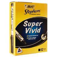 Stephens Marker Super Vivid Chisel Black 12 Pack