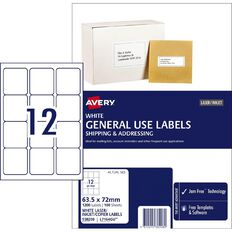 Avery General Use Labels White 1200 Labels