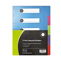 Office Supply Co 5 Tab Coloured Polypropylene Dividers