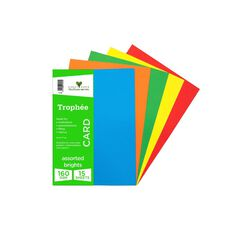 Trophee Card 160gsm 15 Pack Brights Assorted A4
