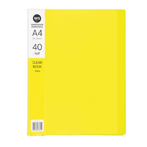WS Clear Book 40 Leaf Yellow A4