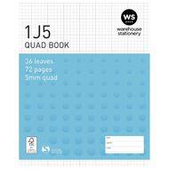 WS Exercise Book 1J5 5mm Quad 36 Leaf Blue