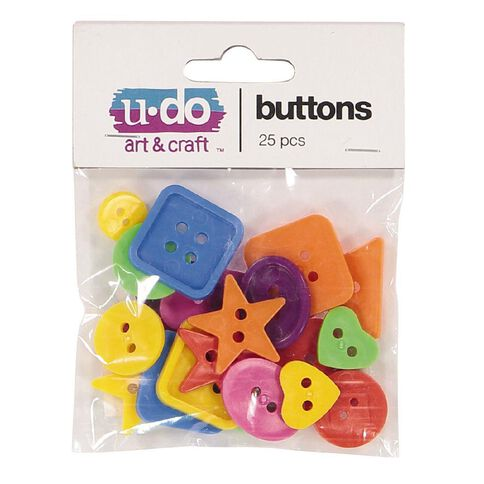 U-Do Buttons Multi-Coloured 25 Pack