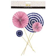 Party Inc Mini Fans Cake Topper Pink and Plue 4 Pack