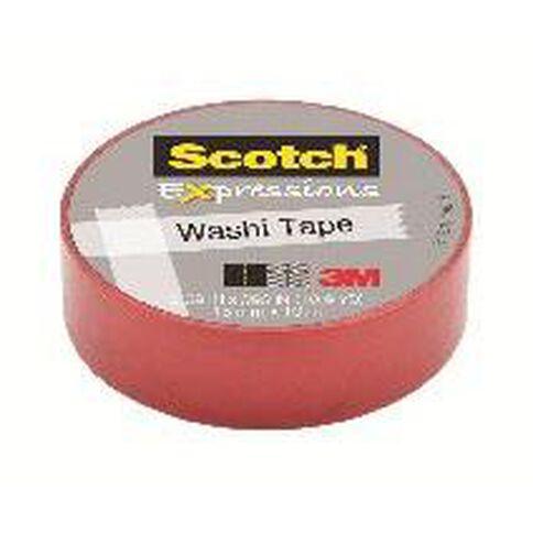 Scotch Washi Craft Tape 15mm x 10m Red