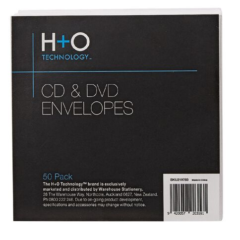 H+O White Paper Envelope For Single Disc 50-Pack