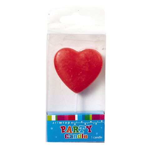 Artwrap Single Heart Candle Red 8cm