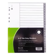 Office Supply Co A-Z Tab Grey A4 Polypropylene Dividers