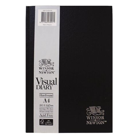 Winsor & Newton Visual Diary Hardcover 110gsm A4 60 Sheets Black