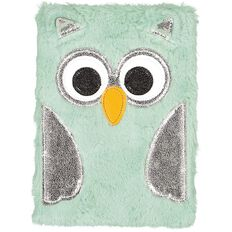 Kookie Fluffy Notebook Green Owl A5