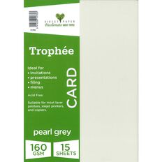 Trophee Card 160gsm 15 Pack Pearl Grey A4