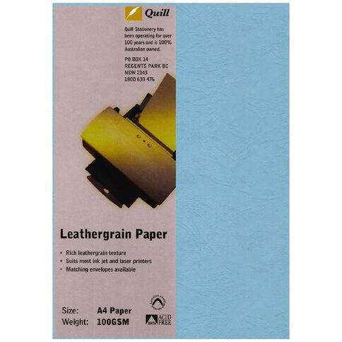 Quill Leathergrain 100gsm 25 Pack Sky A4