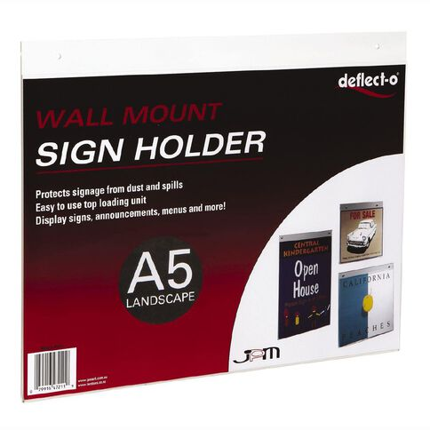 Deflecto Sign/Menu Holder Wall Mounting Landscape Clear A5