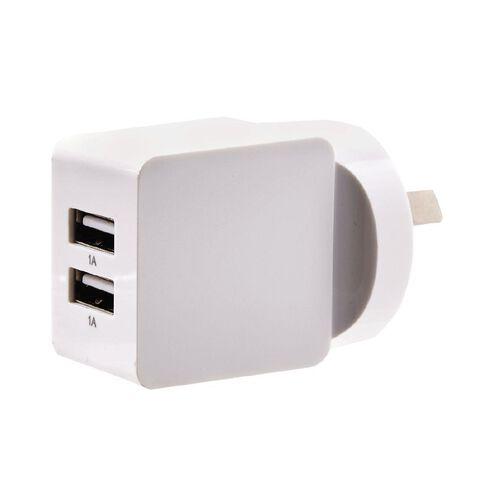 Necessities Brand Dual USB Wall Charger 2A White